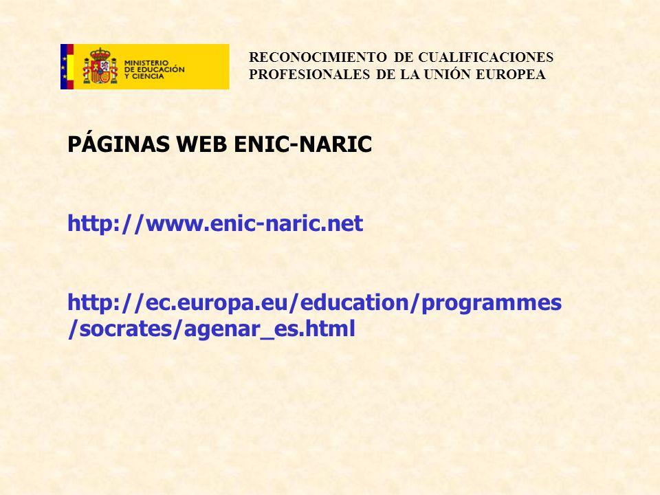 RECONOCIMIENTO DE CUALIFICACIONES PROFESIONALES DE LA UNIÓN EUROPEA PÁGINAS WEB ENIC-NARIC http://www.enic-naric.net http://ec.europa.eu/education/pro