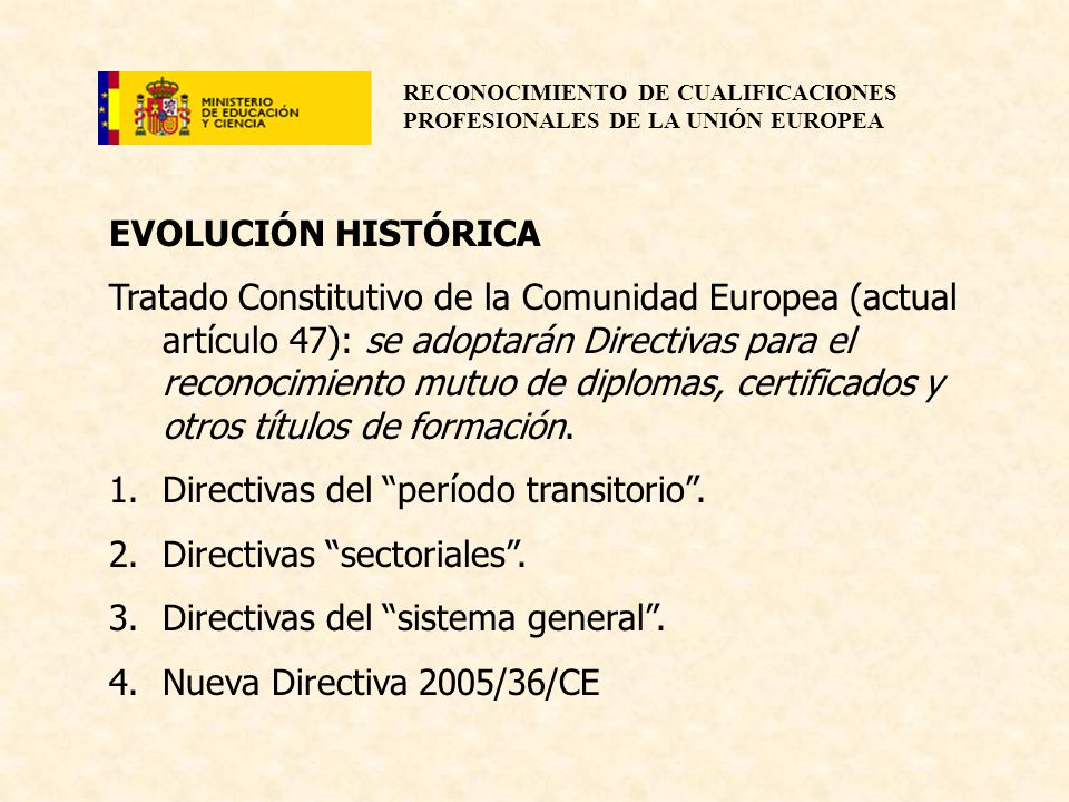 RECONOCIMIENTO DE CUALIFICACIONES PROFESIONALES DE LA UNIÓN EUROPEA EVOLUCIÓN HISTÓRICA Tratado Constitutivo de la Comunidad Europea (actual artículo