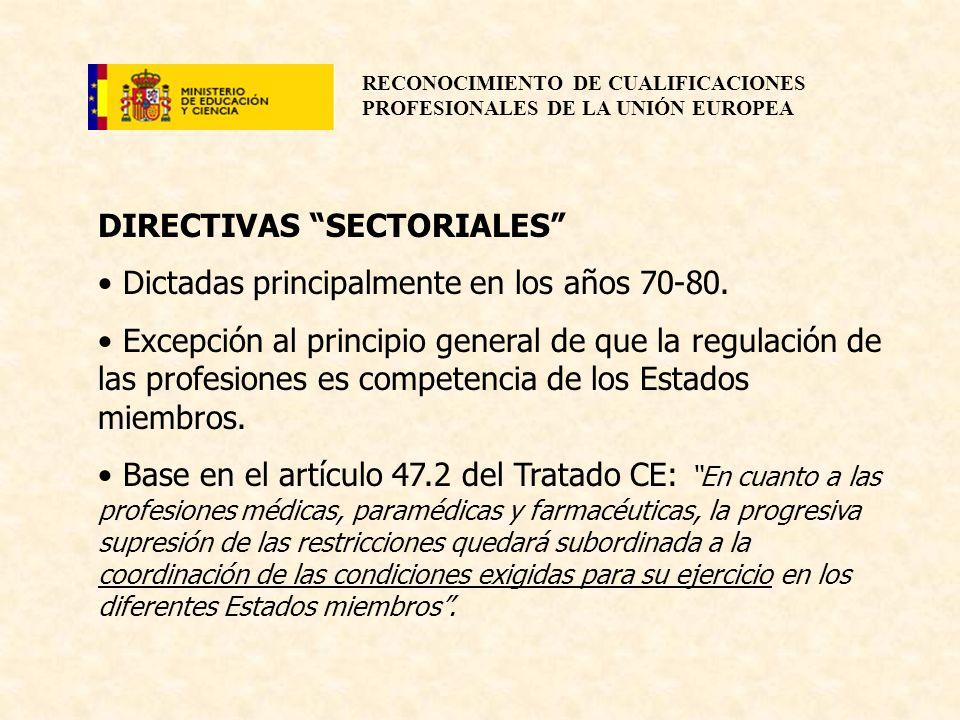 RECONOCIMIENTO DE CUALIFICACIONES PROFESIONALES DE LA UNIÓN EUROPEA DIRECTIVAS SECTORIALES Dictadas principalmente en los años 70-80. Excepción al pri