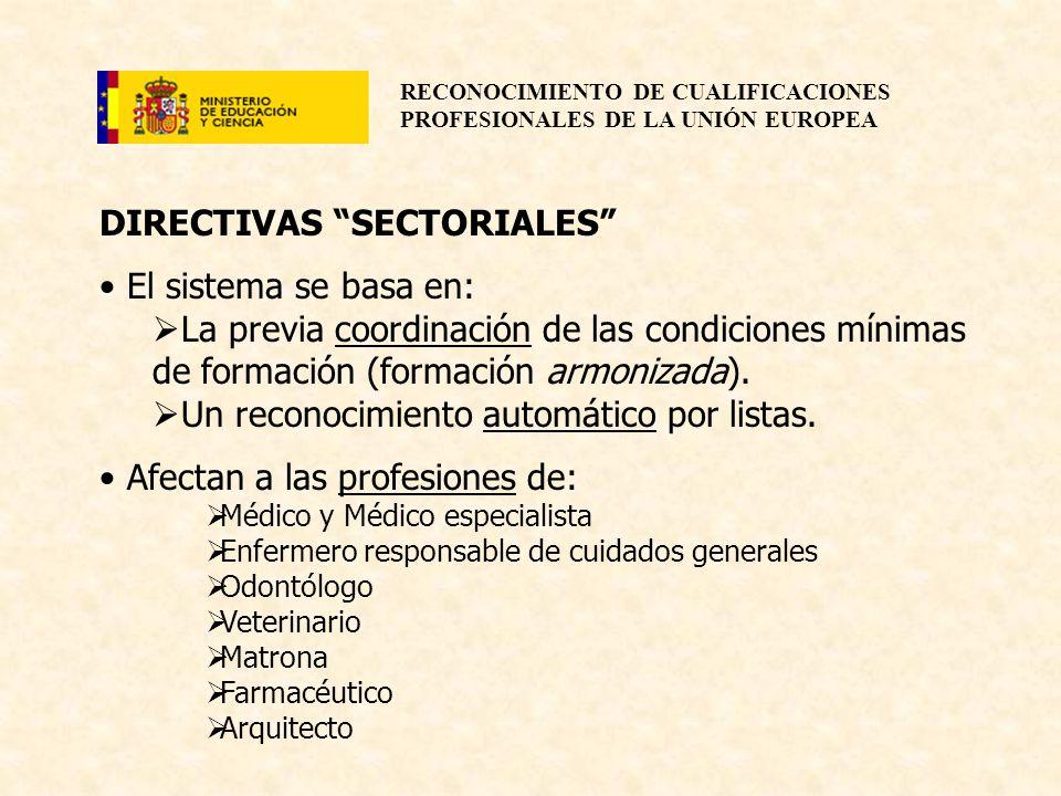 RECONOCIMIENTO DE CUALIFICACIONES PROFESIONALES DE LA UNIÓN EUROPEA DIRECTIVAS SECTORIALES El sistema se basa en: La previa coordinación de las condic
