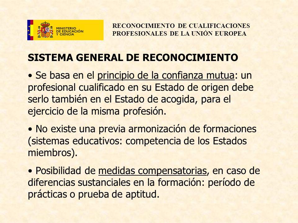 RECONOCIMIENTO DE CUALIFICACIONES PROFESIONALES DE LA UNIÓN EUROPEA SISTEMA GENERAL DE RECONOCIMIENTO Se basa en el principio de la confianza mutua: u