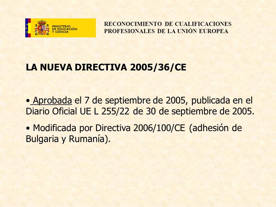RECONOCIMIENTO DE CUALIFICACIONES PROFESIONALES DE LA UNIÓN EUROPEA LA NUEVA DIRECTIVA 2005/36/CE Aprobada el 7 de septiembre de 2005, publicada en el