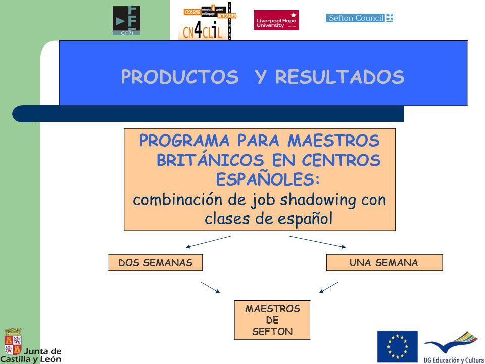PRODUCTOS Y RESULTADOS PROGRAMA PARA MAESTROS BRITÁNICOS EN CENTROS ESPAÑOLES: combinación de job shadowing con clases de español DOS SEMANASUNA SEMAN