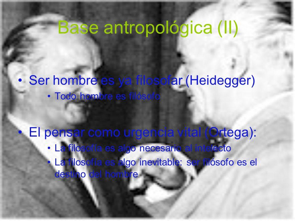 Base antropológica (II) Ser hombre es ya filosofar (Heidegger) Todo hombre es filósofo El pensar como urgencia vital (Ortega): La filosofía es algo ne