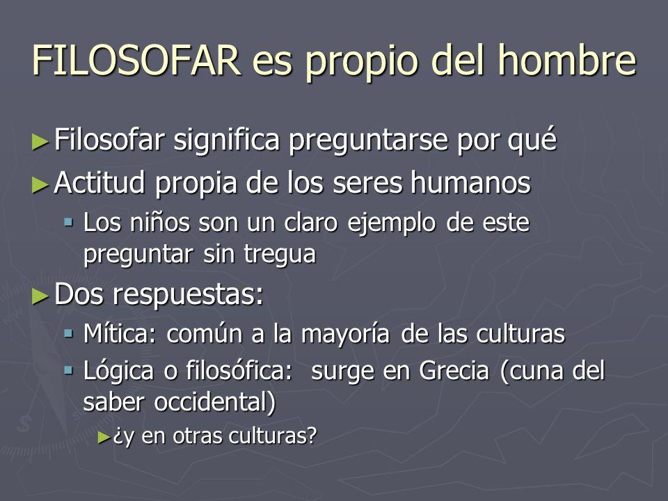 FILOSOFAR es propio del hombre Filosofar significa preguntarse por qué Filosofar significa preguntarse por qué Actitud propia de los seres humanos Act