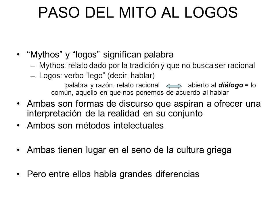 PASO DEL MITO AL LOGOS Mythos y logos significan palabra –Mythos: relato dado por la tradición y que no busca ser racional –Logos: verbo lego (decir,