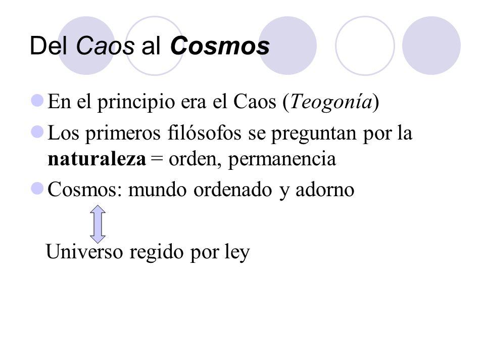 Del Caos al Cosmos En el principio era el Caos (Teogonía) Los primeros filósofos se preguntan por la naturaleza = orden, permanencia Cosmos: mundo ord
