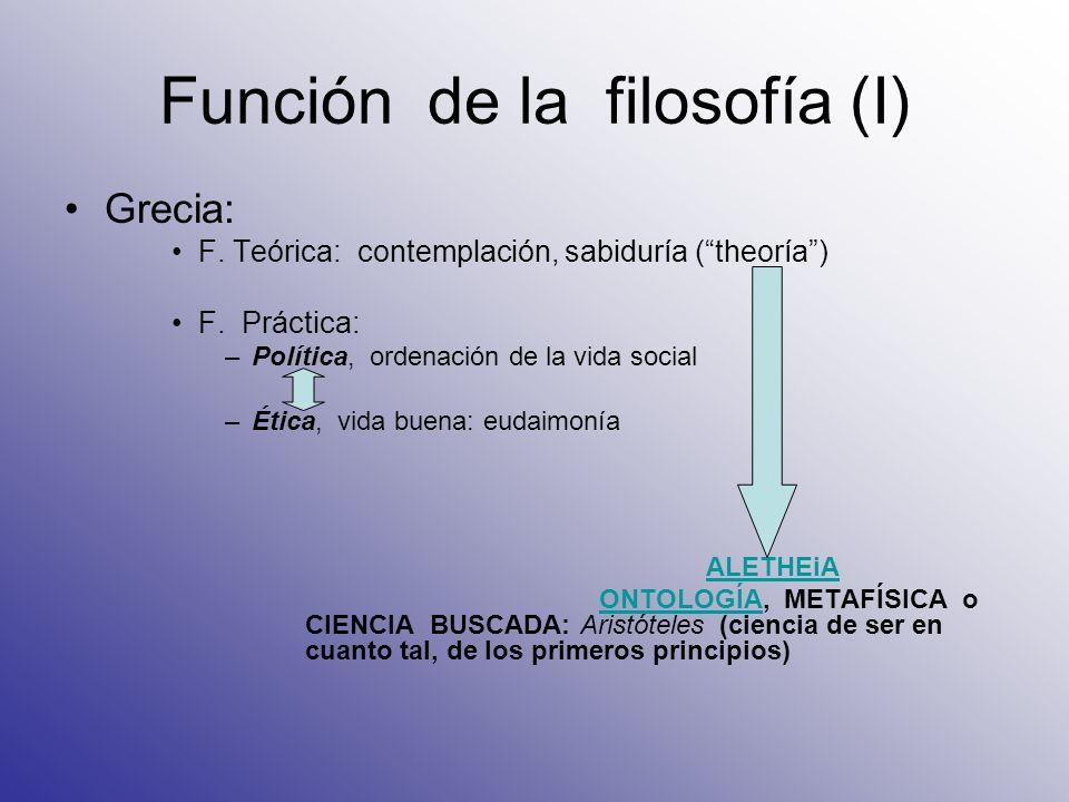 Función de la filosofía (I) Grecia: F. Teórica: contemplación, sabiduría (theoría) F. Práctica: –Política, ordenación de la vida social –Ética, vida b