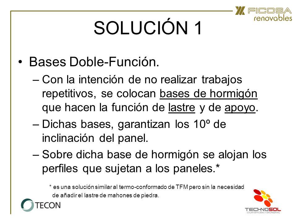 SOLUCIÓN 1 Bases Doble-Función. –Con la intención de no realizar trabajos repetitivos, se colocan bases de hormigón que hacen la función de lastre y d