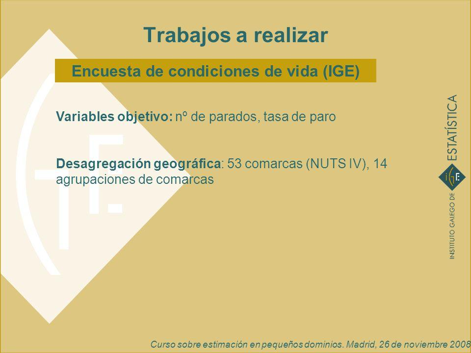 Curso sobre estimación en pequeños dominios. Madrid, 26 de noviembre 2008 Encuesta de condiciones de vida (IGE) Trabajos a realizar Variables objetivo