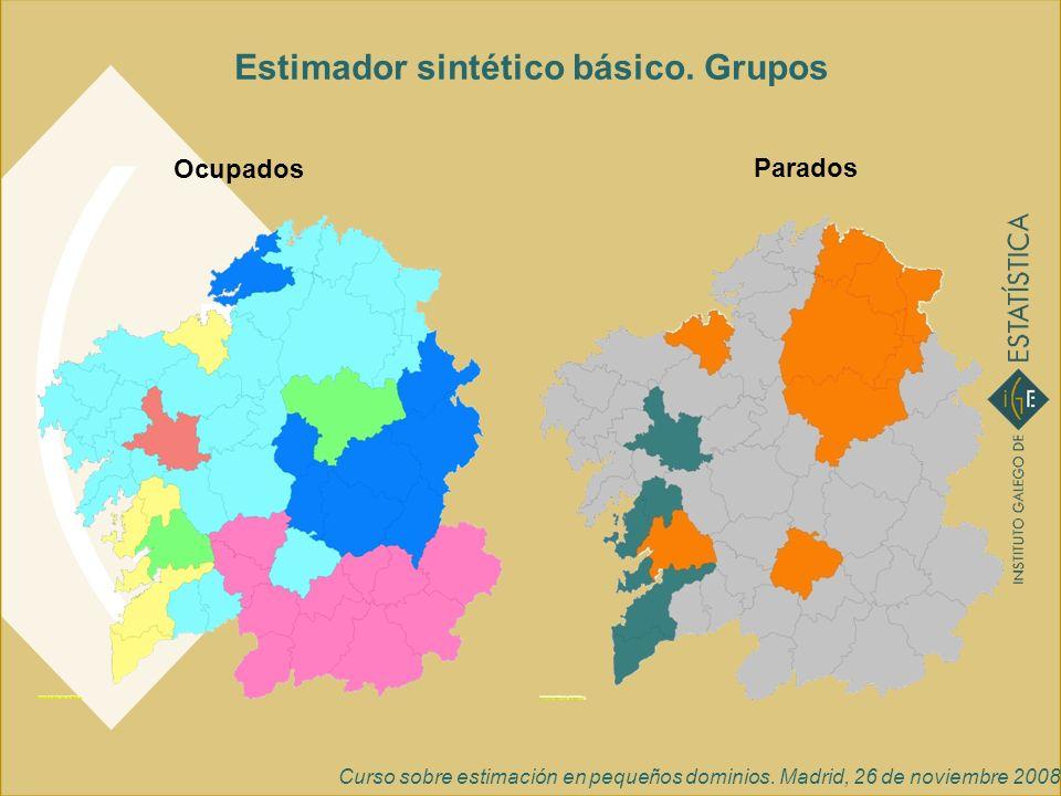 Curso sobre estimación en pequeños dominios. Madrid, 26 de noviembre 2008 Ocupados Parados Estimador sintético básico. Grupos