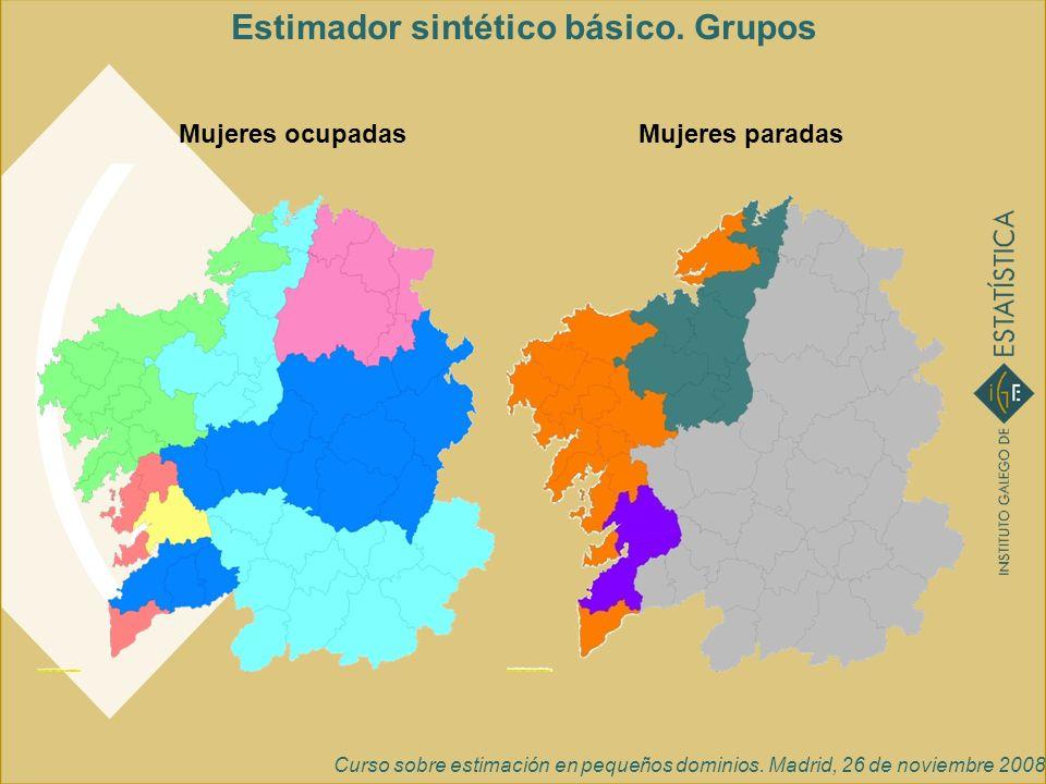 Curso sobre estimación en pequeños dominios. Madrid, 26 de noviembre 2008 Mujeres ocupadasMujeres paradas Estimador sintético básico. Grupos