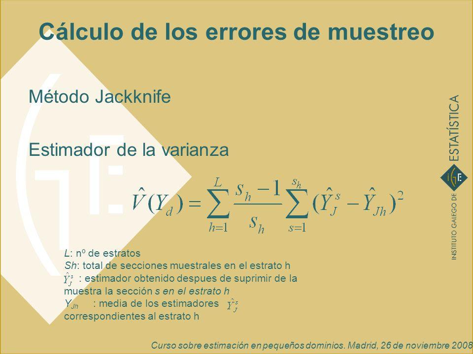Curso sobre estimación en pequeños dominios. Madrid, 26 de noviembre 2008 Cálculo de los errores de muestreo Método Jackknife Estimador de la varianza