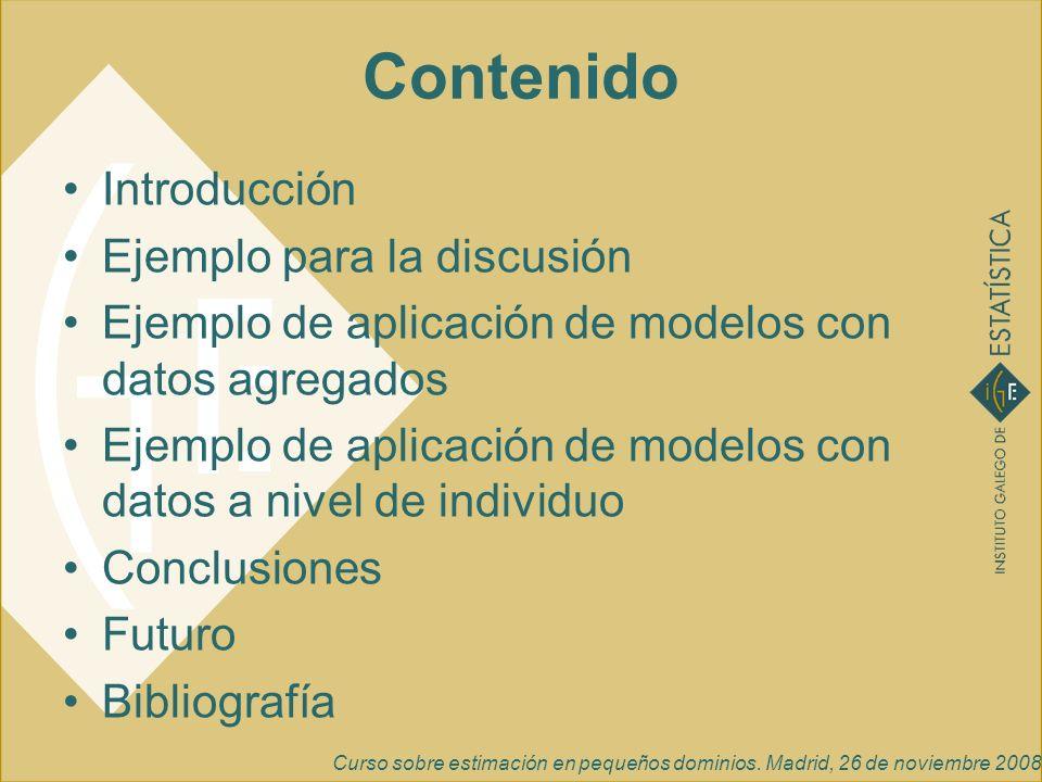 Curso sobre estimación en pequeños dominios. Madrid, 26 de noviembre 2008 Introducción Ejemplo para la discusión Ejemplo de aplicación de modelos con