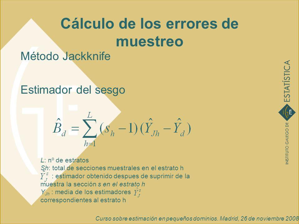 Curso sobre estimación en pequeños dominios. Madrid, 26 de noviembre 2008 Cálculo de los errores de muestreo Método Jackknife Estimador del sesgo L: n