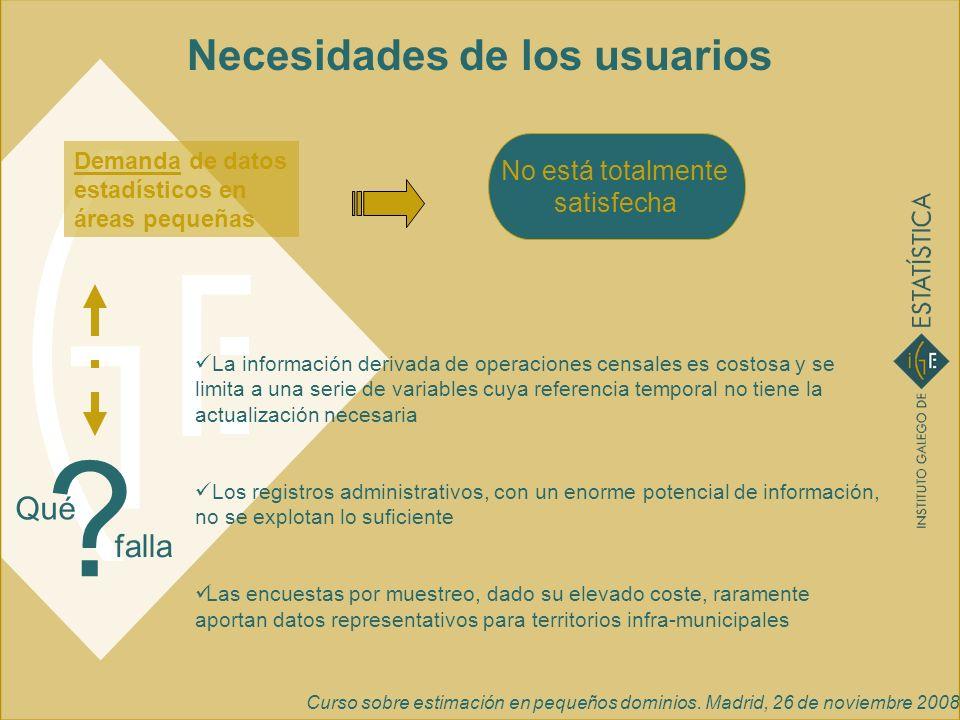 Curso sobre estimación en pequeños dominios. Madrid, 26 de noviembre 2008 Necesidades de los usuarios La información derivada de operaciones censales