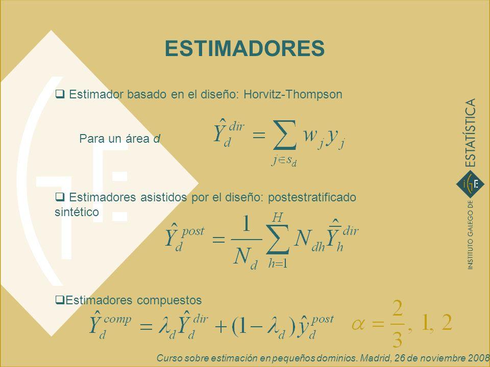 Curso sobre estimación en pequeños dominios. Madrid, 26 de noviembre 2008 ESTIMADORES Estimador basado en el diseño: Horvitz-Thompson Para un área d E