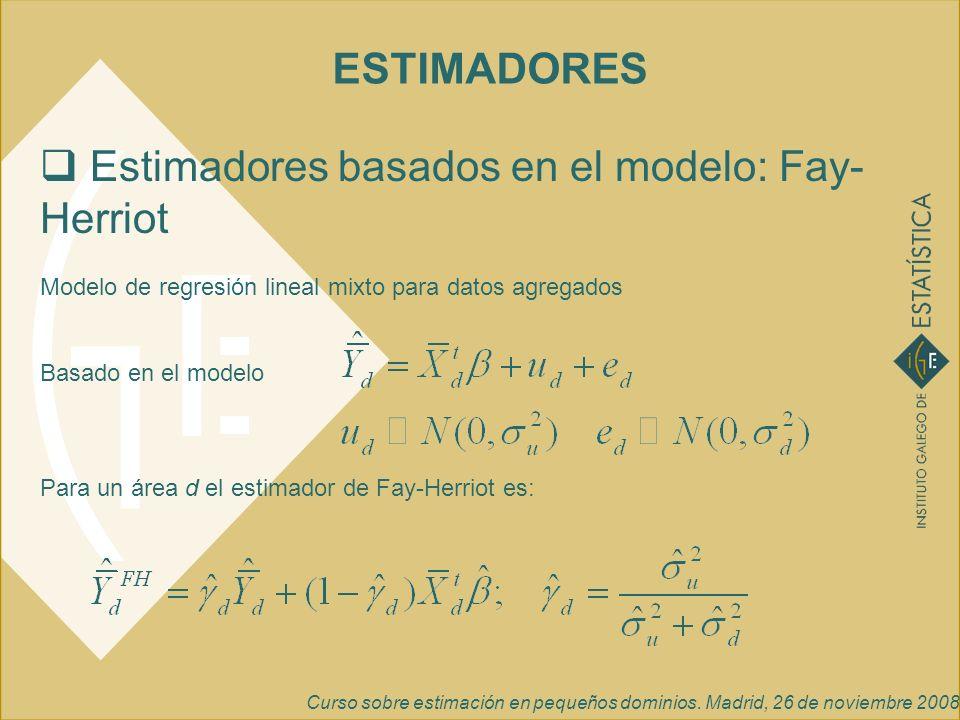 Curso sobre estimación en pequeños dominios. Madrid, 26 de noviembre 2008 Estimadores basados en el modelo: Fay- Herriot Modelo de regresión lineal mi