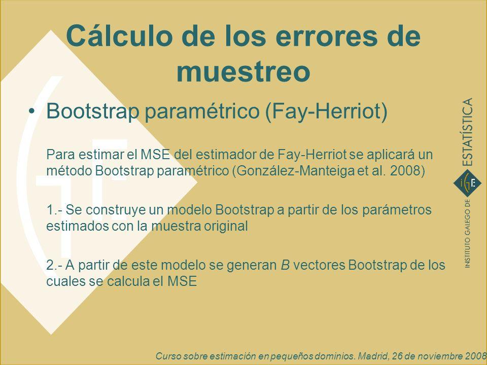 Curso sobre estimación en pequeños dominios. Madrid, 26 de noviembre 2008 Cálculo de los errores de muestreo Bootstrap paramétrico (Fay-Herriot) Para