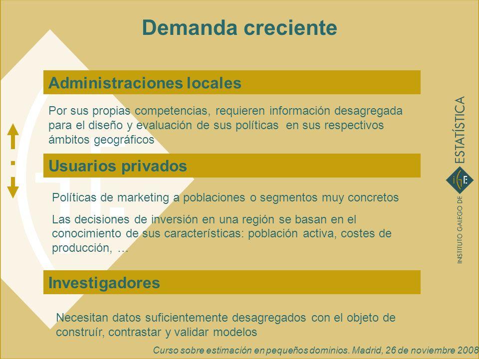 Curso sobre estimación en pequeños dominios. Madrid, 26 de noviembre 2008 Demanda creciente Administraciones locales Investigadores Usuarios privados