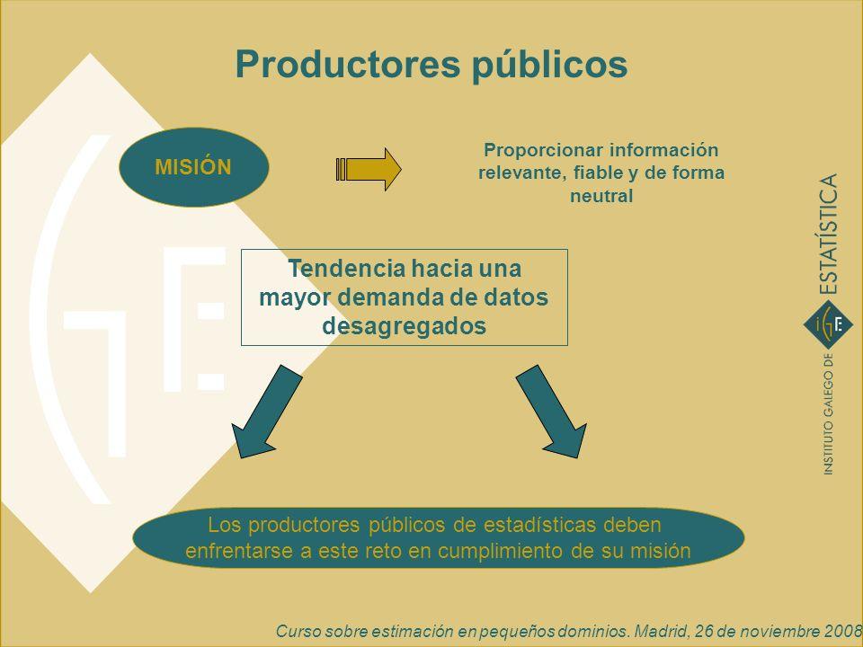 Curso sobre estimación en pequeños dominios. Madrid, 26 de noviembre 2008 Tendencia hacia una mayor demanda de datos desagregados Productores públicos