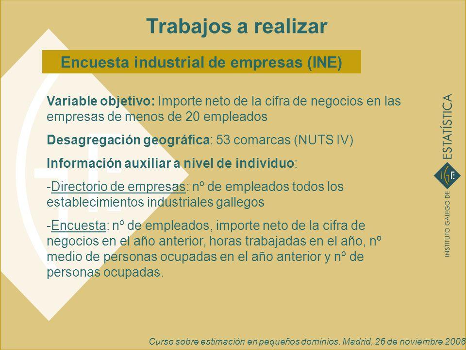 Curso sobre estimación en pequeños dominios. Madrid, 26 de noviembre 2008 Trabajos a realizar Encuesta industrial de empresas (INE) Variable objetivo: