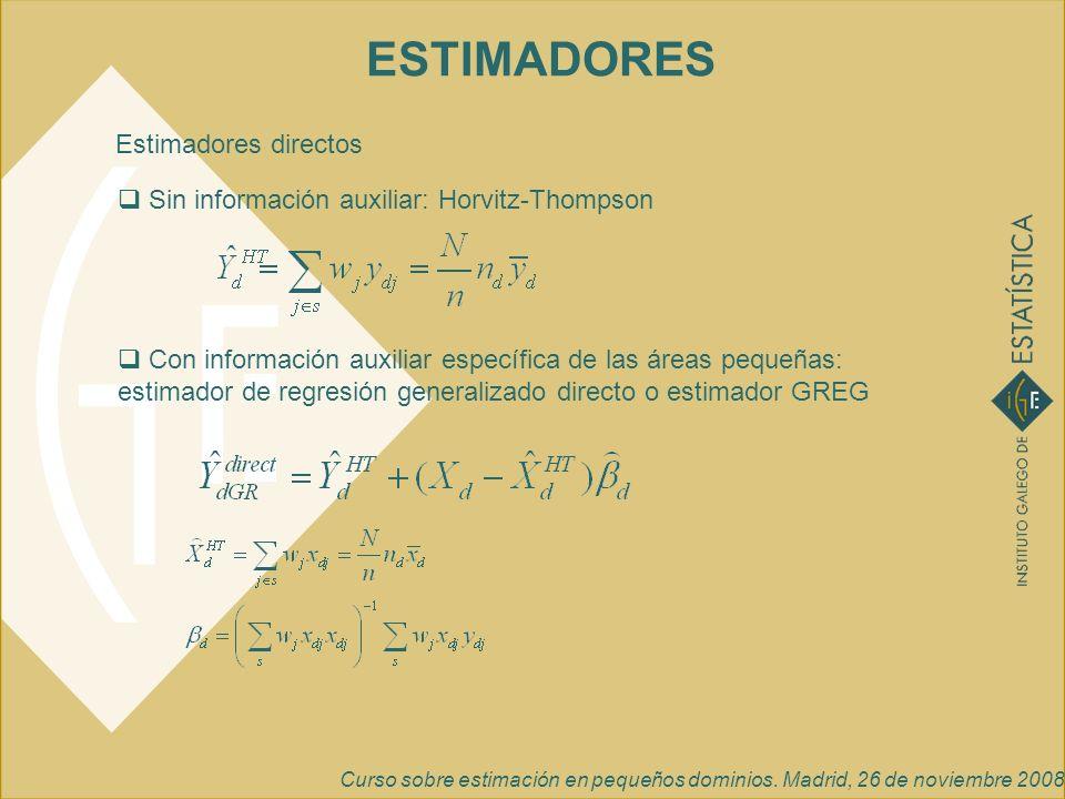 Curso sobre estimación en pequeños dominios. Madrid, 26 de noviembre 2008 ESTIMADORES Sin información auxiliar: Horvitz-Thompson Con información auxil