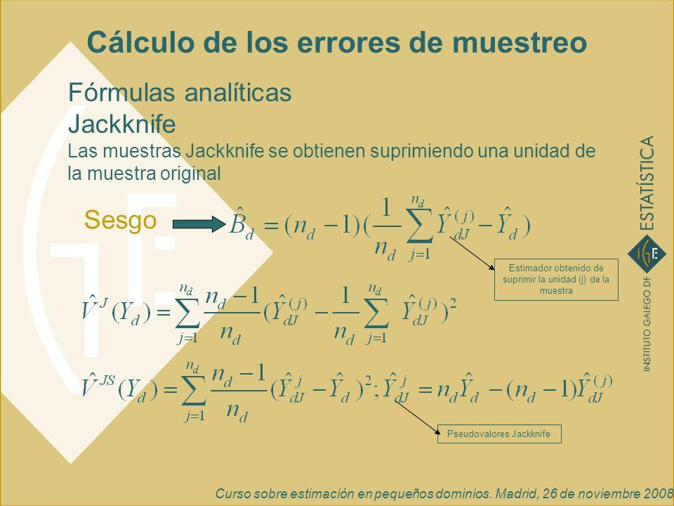 Curso sobre estimación en pequeños dominios. Madrid, 26 de noviembre 2008 Cálculo de los errores de muestreo Fórmulas analíticas Jackknife Las muestra