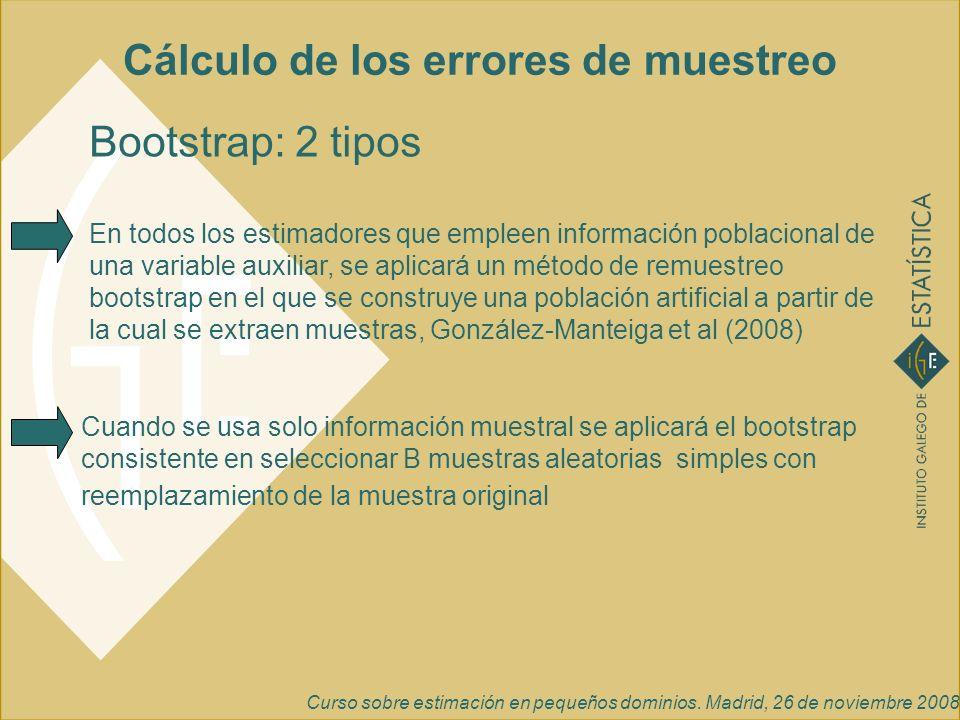Curso sobre estimación en pequeños dominios. Madrid, 26 de noviembre 2008 Cálculo de los errores de muestreo Bootstrap: 2 tipos En todos los estimador