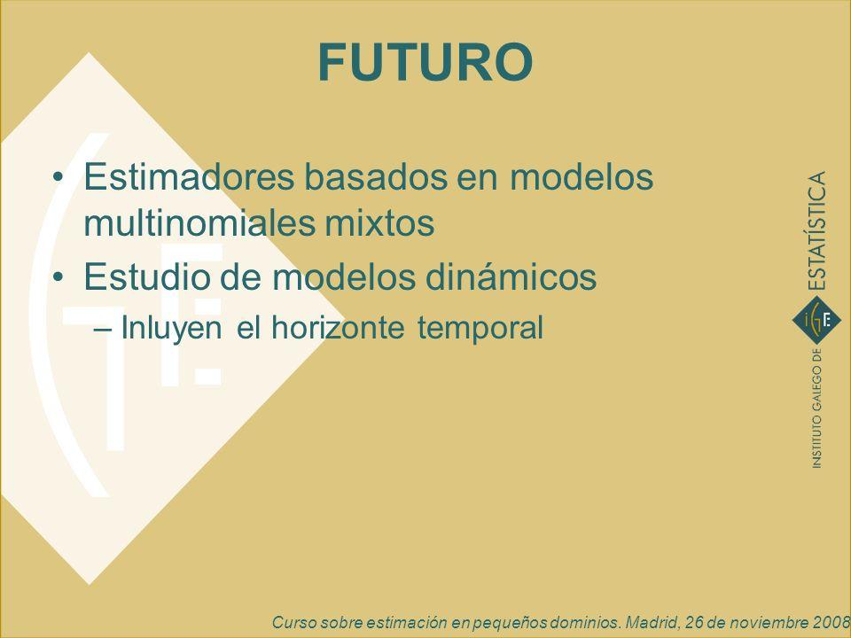 Curso sobre estimación en pequeños dominios. Madrid, 26 de noviembre 2008 FUTURO Estimadores basados en modelos multinomiales mixtos Estudio de modelo