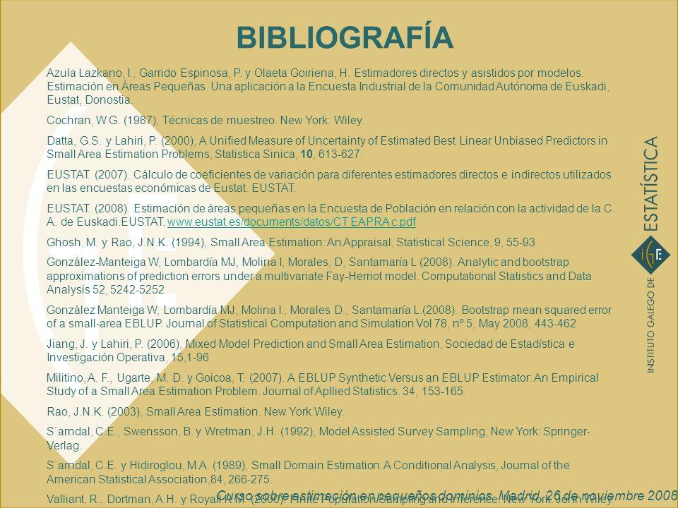 Curso sobre estimación en pequeños dominios. Madrid, 26 de noviembre 2008 BIBLIOGRAFÍA Azula Lazkano, I., Garrido Espinosa, P. y Olaeta Goiriena, H. E