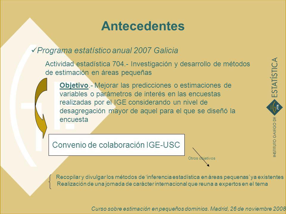Curso sobre estimación en pequeños dominios. Madrid, 26 de noviembre 2008 Antecedentes Programa estatístico anual 2007 Galicia Actividad estadística 7