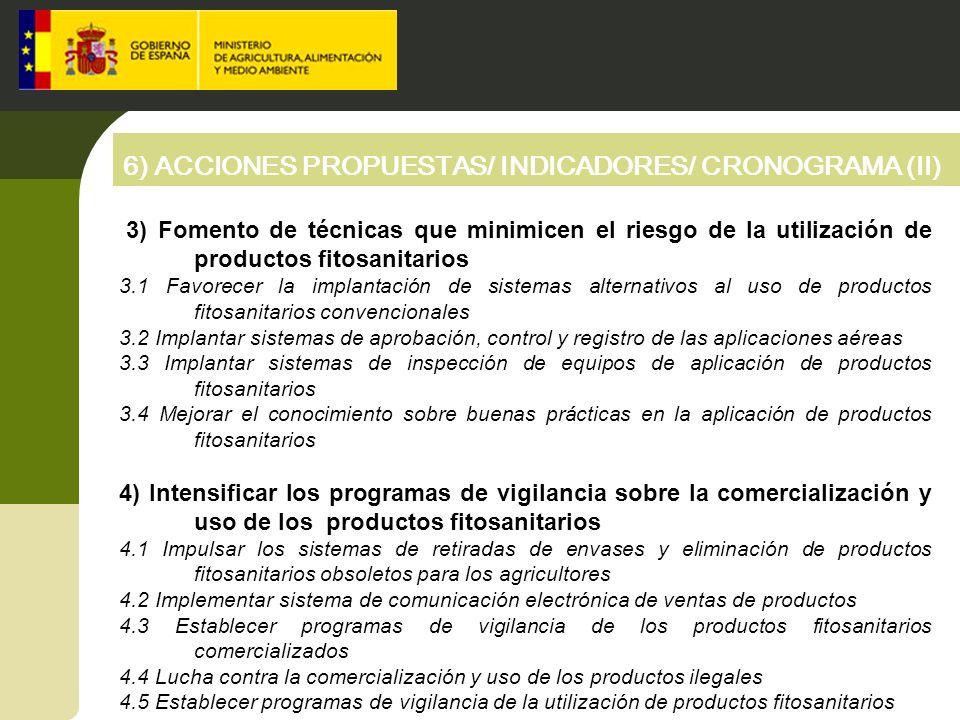 6) ACCIONES PROPUESTAS/ INDICADORES/ CRONOGRAMA (II) 3) Fomento de técnicas que minimicen el riesgo de la utilización de productos fitosanitarios 3.1