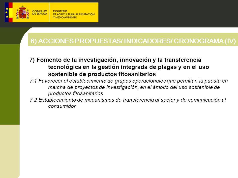 6) ACCIONES PROPUESTAS/ INDICADORES/ CRONOGRAMA (IV) 7) Fomento de la investigación, innovación y la transferencia tecnológica en la gestión integrada