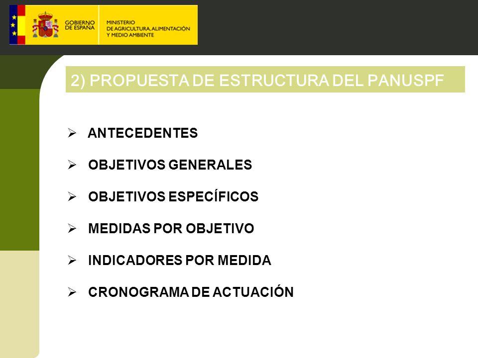 2) PROPUESTA DE ESTRUCTURA DEL PANUSPF ANTECEDENTES OBJETIVOS GENERALES OBJETIVOS ESPECÍFICOS MEDIDAS POR OBJETIVO INDICADORES POR MEDIDA CRONOGRAMA D