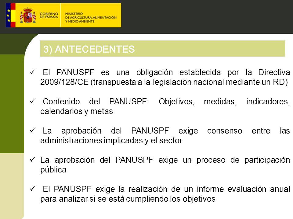 3) ANTECEDENTES El PANUSPF es una obligación establecida por la Directiva 2009/128/CE (transpuesta a la legislación nacional mediante un RD) Contenido