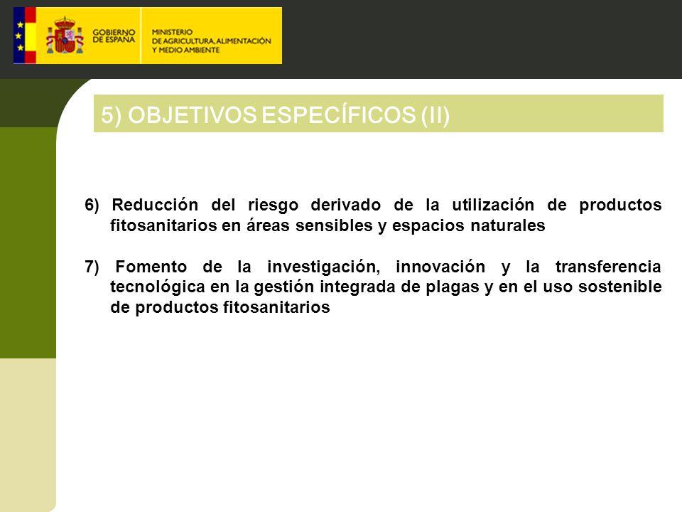 5) OBJETIVOS ESPECÍFICOS (II) 6) Reducción del riesgo derivado de la utilización de productos fitosanitarios en áreas sensibles y espacios naturales 7