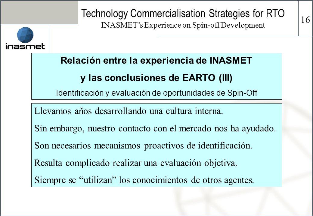 Relación entre la experiencia de INASMET y las conclusiones de EARTO (III) Identificación y evaluación de oportunidades de Spin-Off Technology Commerc