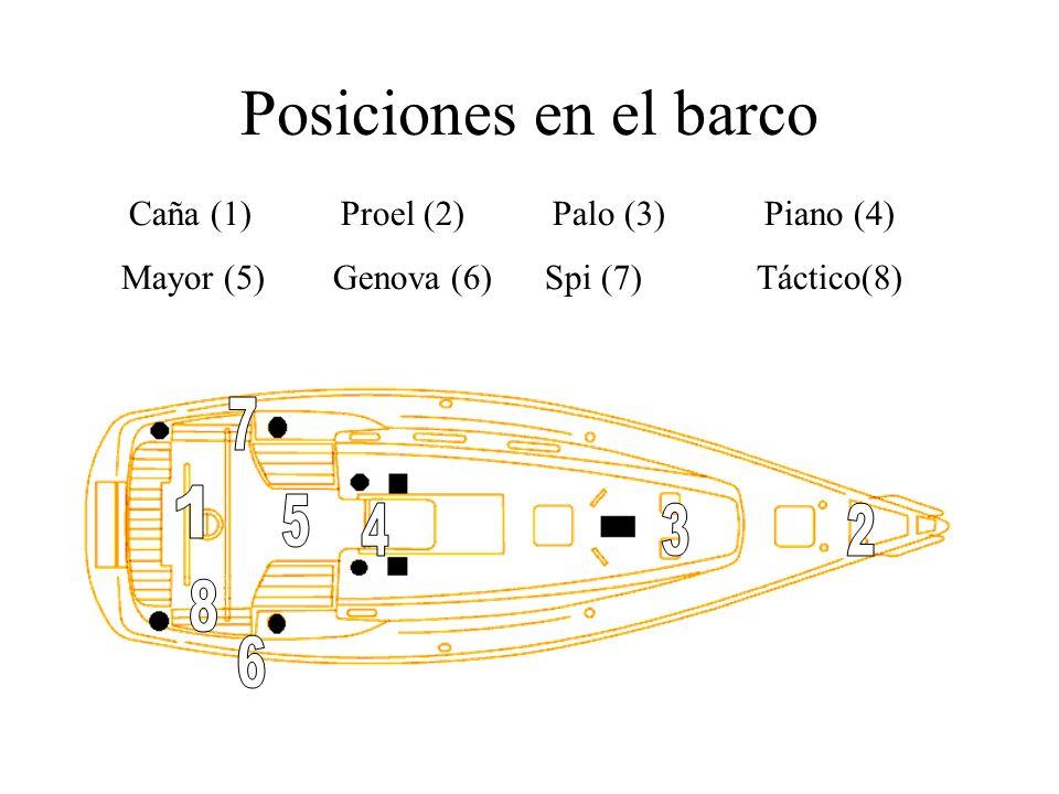 Posiciones en el barco Caña (1)Proel (2)Palo (3)Piano (4) Mayor (5)Genova (6)Spi (7) Táctico(8)