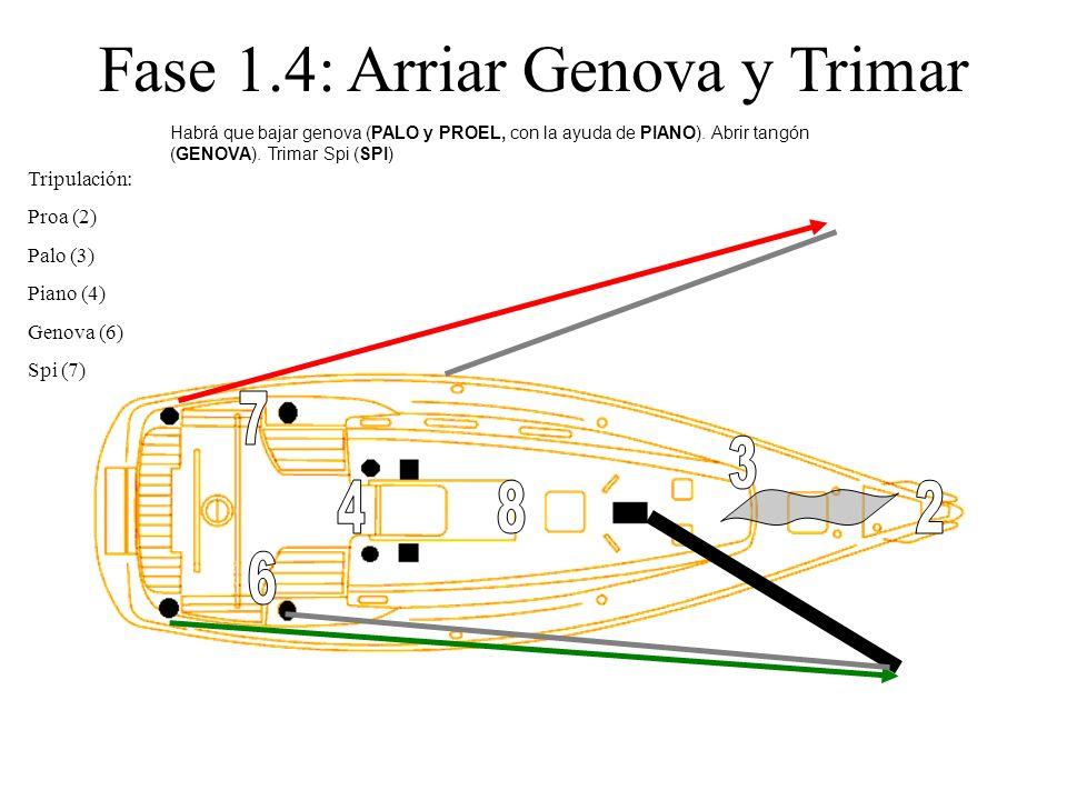 Fase 1.4: Arriar Genova y Trimar Tripulación: Proa (2) Palo (3) Piano (4) Genova (6) Spi (7) Habrá que bajar genova (PALO y PROEL, con la ayuda de PIA