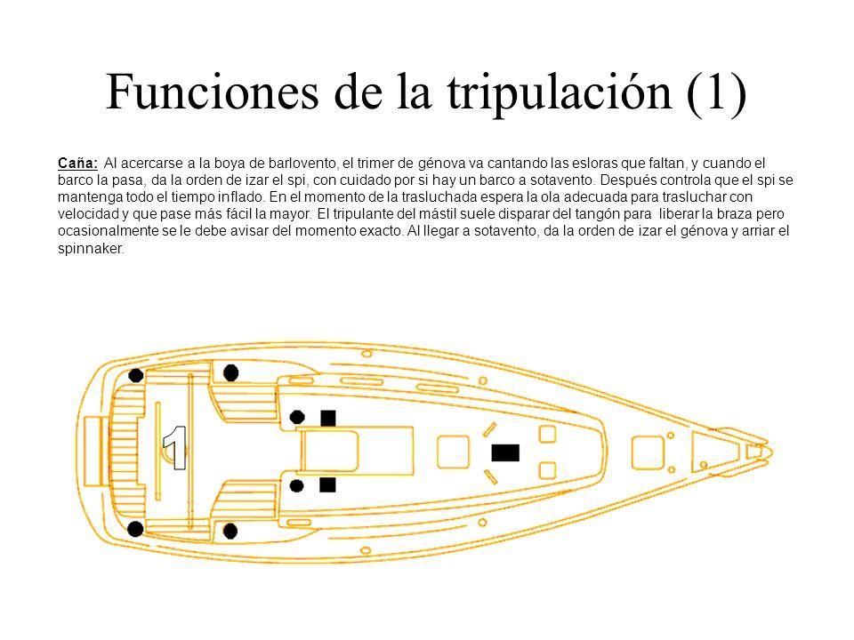 Funciones de la tripulación (1) Caña: Al acercarse a la boya de barlovento, el trimer de génova va cantando las esloras que faltan, y cuando el barco