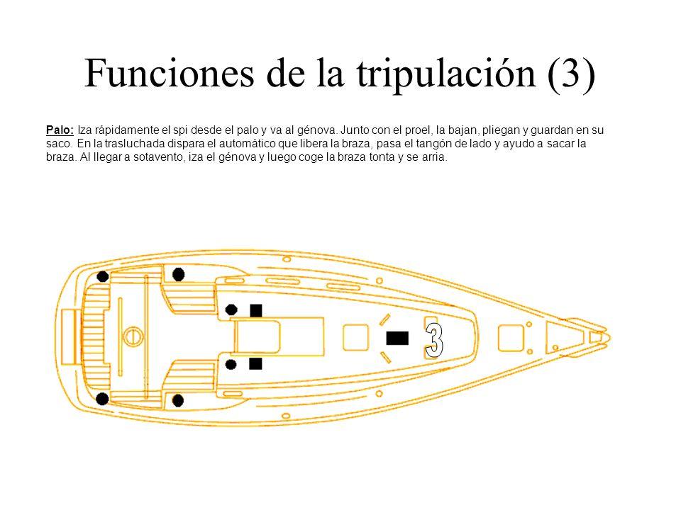 Funciones de la tripulación (3) Palo: Iza rápidamente el spi desde el palo y va al génova. Junto con el proel, la bajan, pliegan y guardan en su saco.