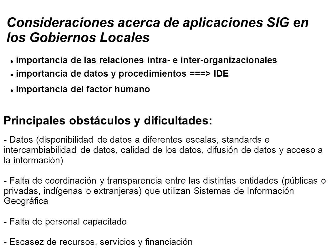 Consideraciones acerca de aplicaciones SIG en los Gobiernos Locales importancia de las relaciones intra- e inter-organizacionales importancia de datos