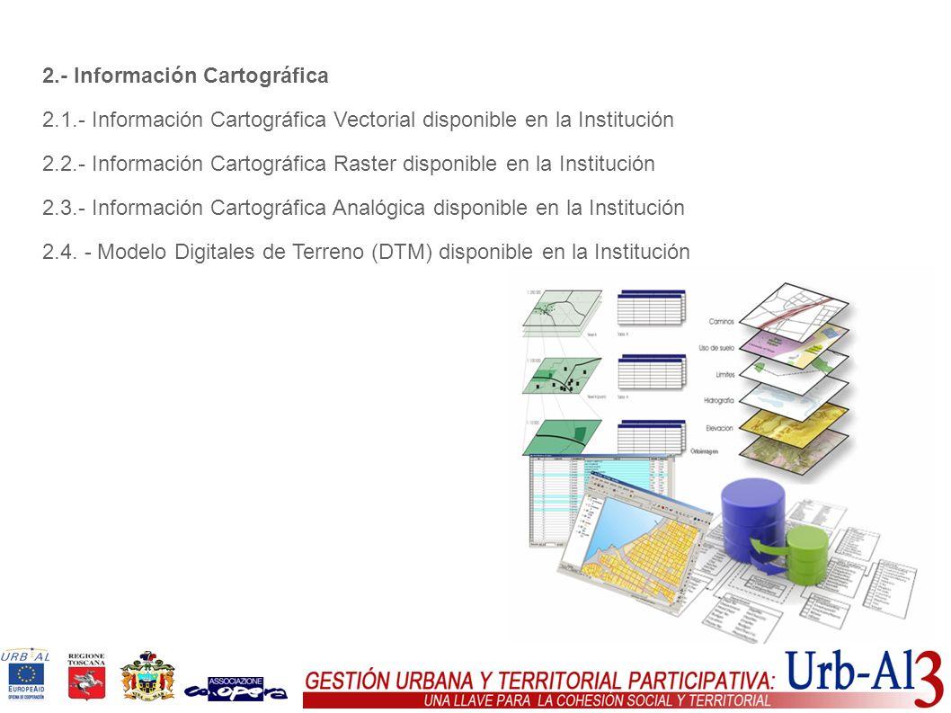 2.- Información Cartográfica 2.1.- Información Cartográfica Vectorial disponible en la Institución 2.2.- Información Cartográfica Raster disponible en