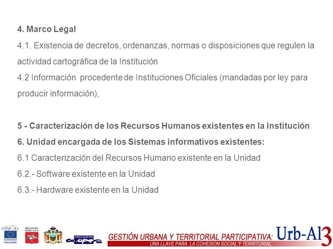 4. Marco Legal 4.1. Existencia de decretos, ordenanzas, normas o disposiciones que regulen la actividad cartográfica de la Institución 4.2 Información
