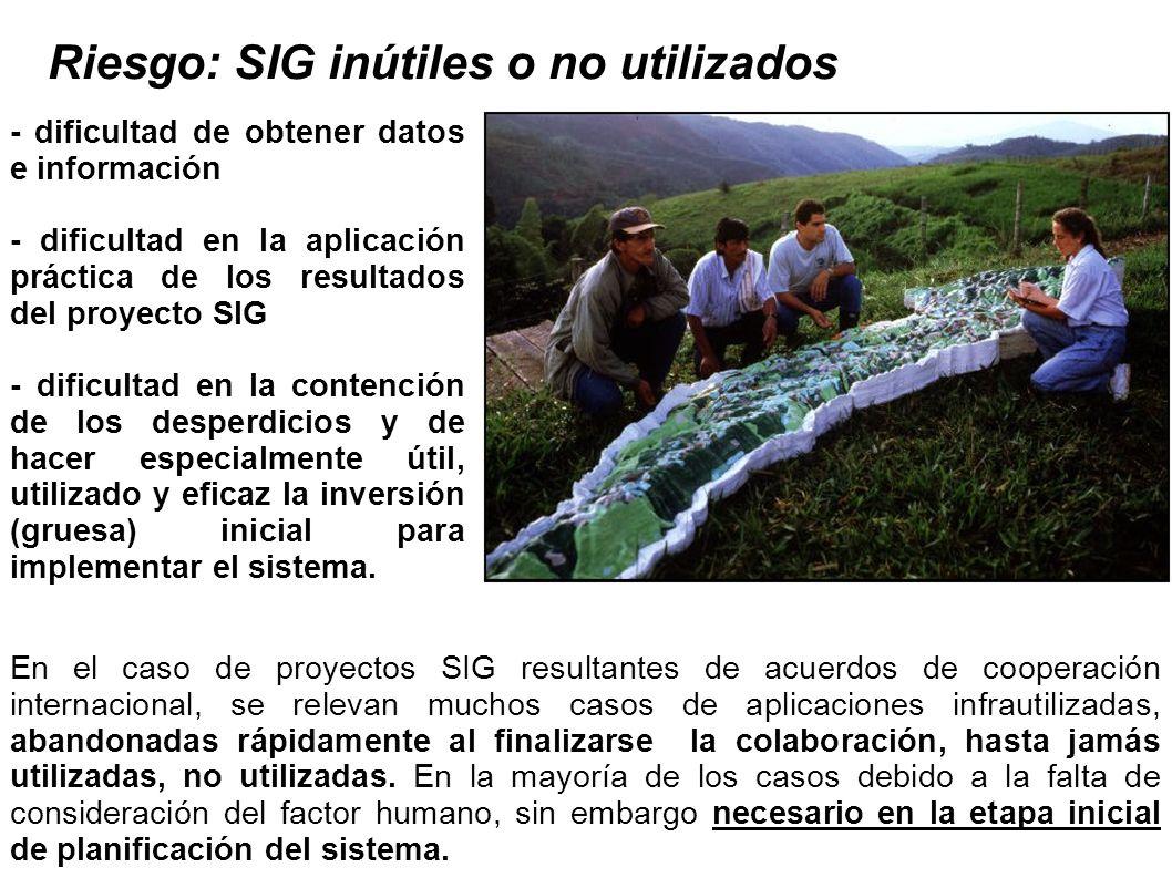 Riesgo: SIG inútiles o no utilizados - dificultad de obtener datos e información - dificultad en la aplicación práctica de los resultados del proyecto