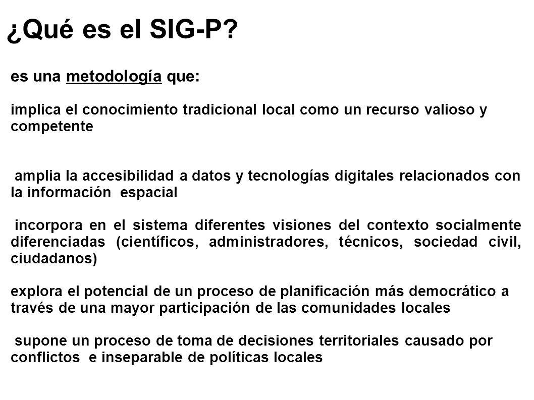 ¿Qué es el SIG-P? es una metodología que: implica el conocimiento tradicional local como un recurso valioso y competente amplia la accesibilidad a dat