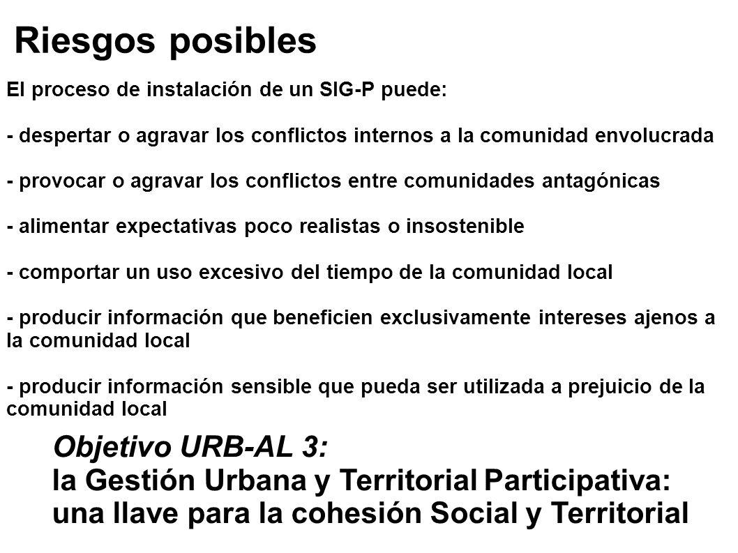 Riesgos posibles El proceso de instalación de un SIG-P puede: - despertar o agravar los conflictos internos a la comunidad envolucrada - provocar o ag