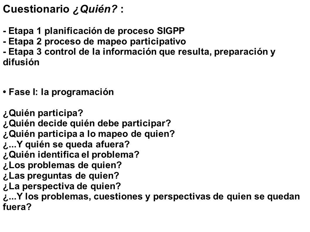 Cuestionario ¿Quién? : - Etapa 1 planificación de proceso SIGPP - Etapa 2 proceso de mapeo participativo - Etapa 3 control de la información que resul