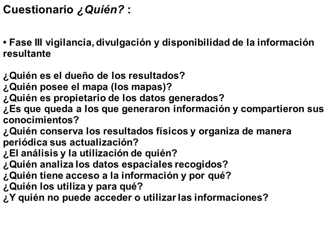 Cuestionario ¿Quién? : Fase III vigilancia, divulgación y disponibilidad de la información resultante ¿Quién es el dueño de los resultados? ¿Quién pos